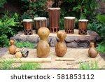 hawaiian musical instruments... | Shutterstock . vector #581853112