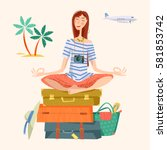 young woman sits on a stack of... | Shutterstock .eps vector #581853742