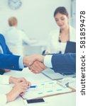 business people shaking hands ... | Shutterstock . vector #581859478