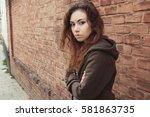 sad teen girl. introvert girl... | Shutterstock . vector #581863735
