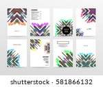 memphis geometric background... | Shutterstock .eps vector #581866132