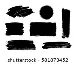 set of black paint  ink brush... | Shutterstock .eps vector #581873452