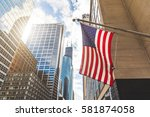 Usa Flag In Chicago With With...
