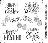 Hand written Easter phrases. Greeting card text templates with Easter eggs isolated on white background. Happy easter lettering modern calligraphy style.