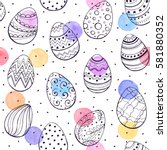 easter background with eggs... | Shutterstock . vector #581880352