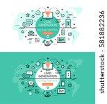 set of modern vector... | Shutterstock .eps vector #581882236