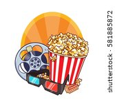 cinema objects   film roll ... | Shutterstock .eps vector #581885872