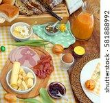 breakfast or brunch table... | Shutterstock . vector #581888992