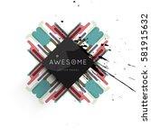 memphis geometric background... | Shutterstock .eps vector #581915632