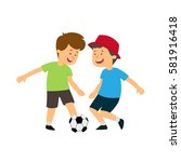two boys playing ball. vector... | Shutterstock .eps vector #581916418
