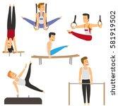 gymnasts doing strength... | Shutterstock .eps vector #581919502
