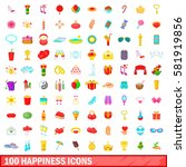 100 happiness icons set in... | Shutterstock .eps vector #581919856