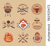 barbecue  grill labels  badges  ... | Shutterstock . vector #581925472
