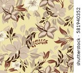seamless flowers pattern | Shutterstock .eps vector #581940352