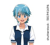 anime girl japanese character | Shutterstock .eps vector #581941696