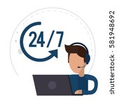 character male call center... | Shutterstock .eps vector #581948692