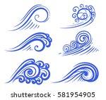 wave collection ocean or sea... | Shutterstock .eps vector #581954905