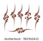 set calligraphic abstract... | Shutterstock .eps vector #581962612