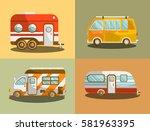 camping bus or camper van... | Shutterstock .eps vector #581963395
