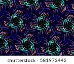 a hand drawing pattern made of... | Shutterstock . vector #581973442