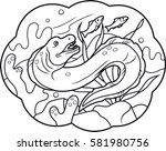 cartoon menacing moray hunting... | Shutterstock .eps vector #581980756