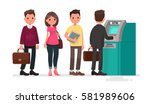 queue at the atm. disgruntled... | Shutterstock .eps vector #581989606