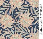 asian flowers seamless pattern. ... | Shutterstock . vector #582001642