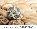 different kinds of rounded buns ... | Shutterstock . vector #582009766
