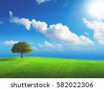 tree alone in the field | Shutterstock . vector #582022306