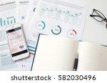 modern white office desk table... | Shutterstock . vector #582030496