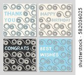 set of funny greeting cards... | Shutterstock .eps vector #582036025