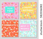 set of funny greeting cards... | Shutterstock .eps vector #582036082