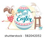 funny happy easter greeting... | Shutterstock .eps vector #582042052
