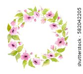 watercolor nature flower wreath.... | Shutterstock . vector #582042205