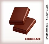 chocolate bars isolated on... | Shutterstock .eps vector #582049606