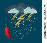 lightning and heavy rain with... | Shutterstock .eps vector #582055075