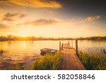 Sunset Over The Lake With A...