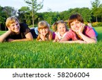 parents with little daughters ... | Shutterstock . vector #58206004