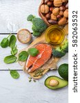 selection of healthy fat... | Shutterstock . vector #582063532