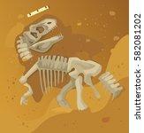ancient dinosaur skeleton...   Shutterstock .eps vector #582081202