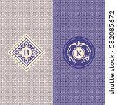 abstract monogram graceful... | Shutterstock .eps vector #582085672