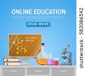 modern tool set of chemistry.... | Shutterstock .eps vector #582086542