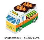 modern isometric food truck... | Shutterstock .eps vector #582091696