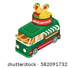 modern isometric food truck...   Shutterstock .eps vector #582091732