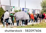 the refugees migrate to europe. ... | Shutterstock . vector #582097606