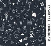 hand drawn seamless pattern... | Shutterstock .eps vector #582109726