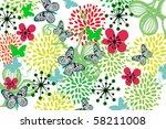 flower and butterfly   Shutterstock .eps vector #58211008