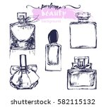 a set of sketches of beautiful... | Shutterstock .eps vector #582115132