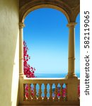 ancient patio with a view to... | Shutterstock . vector #582119065
