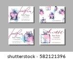 makeup artist business card....   Shutterstock .eps vector #582121396